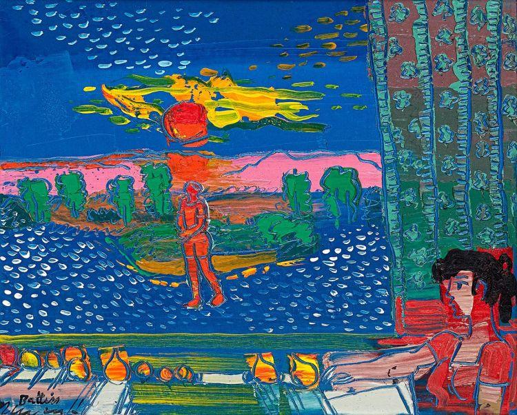 Walter Battiss; Man Walking in Sunset at Night