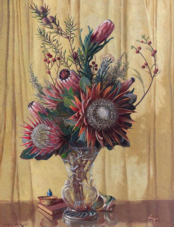 Willem Hermanus Coetzer; Still Life with Proteas and Fynbos