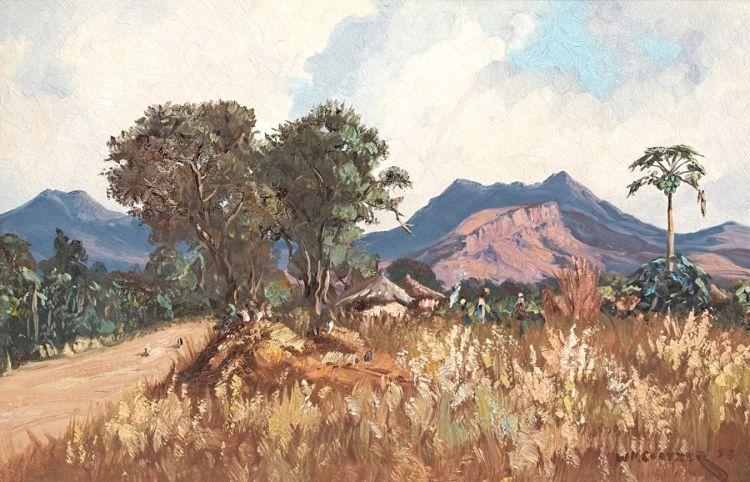 Willem Hermanus Coetzer; Figures and Huts Beside a Road, Eastern Transvaal