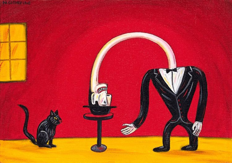 Norman Catherine; Figure and Black Cat