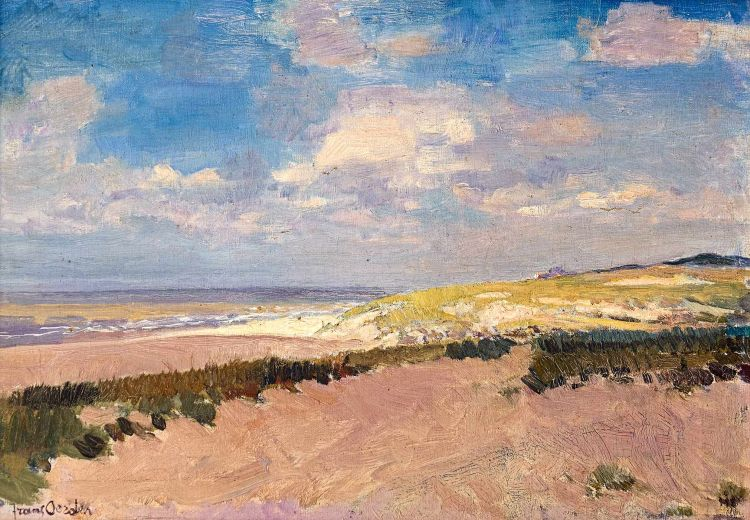 Frans Oerder; Beachscape with Distant Building