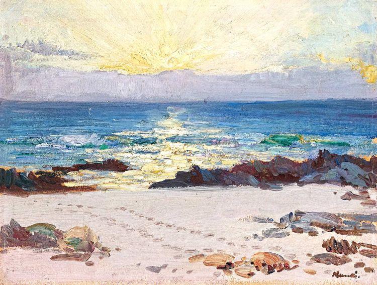 Hugo Naudé; Seascape at Sunset