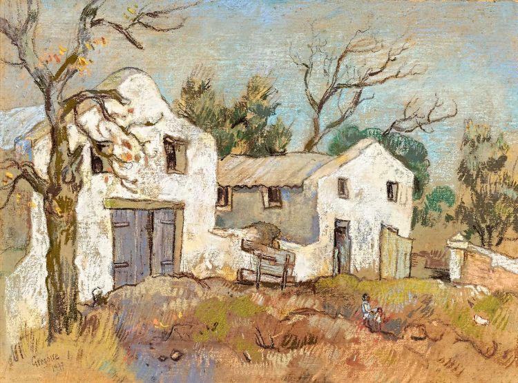 Gregoire Boonzaier; Rural Buildings with Figures