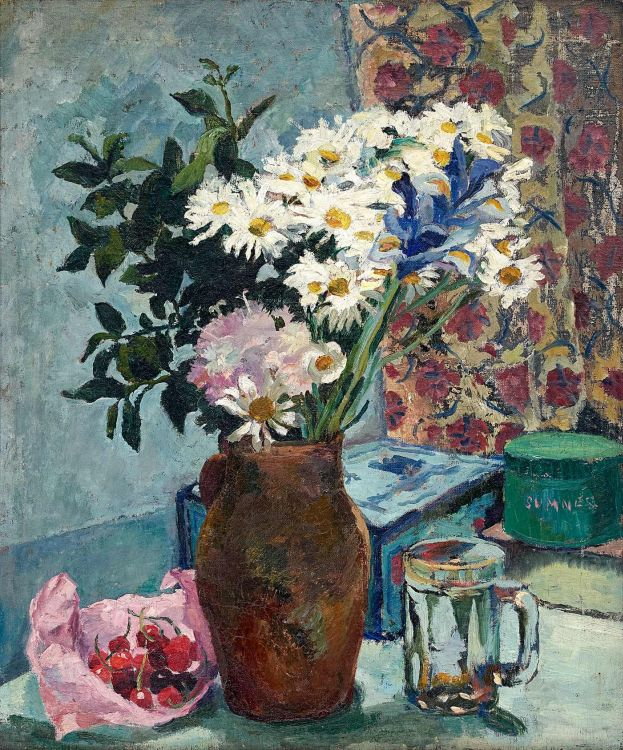 Maud Sumner; Still Life with Daisies and Cherries
