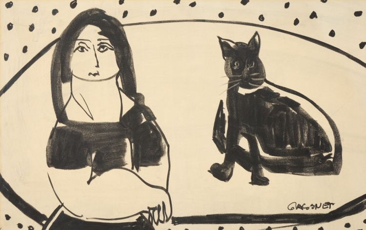 Charles Gassner; Young Girl with a Cat