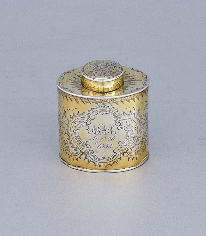 A George III silver-gilt tea caddy, Peter & William Bateman, London, 1805