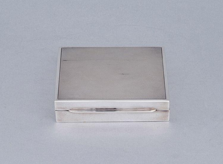 A German sterling silver cigarette box, Emil Hermann, Waldstetten, post 1921