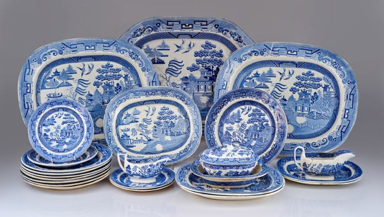 An assembled Staffordshire blue and white transfer-printed part dinner service, 19th century
