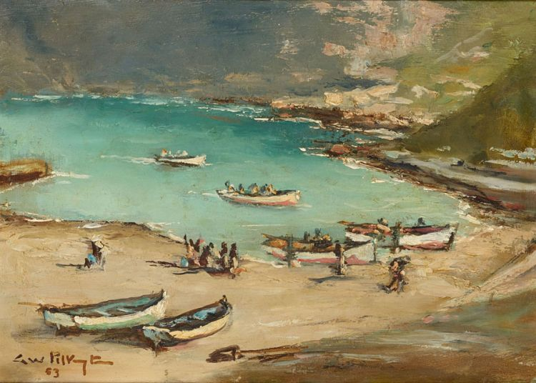 George William Pilkington; Boats on the Beach