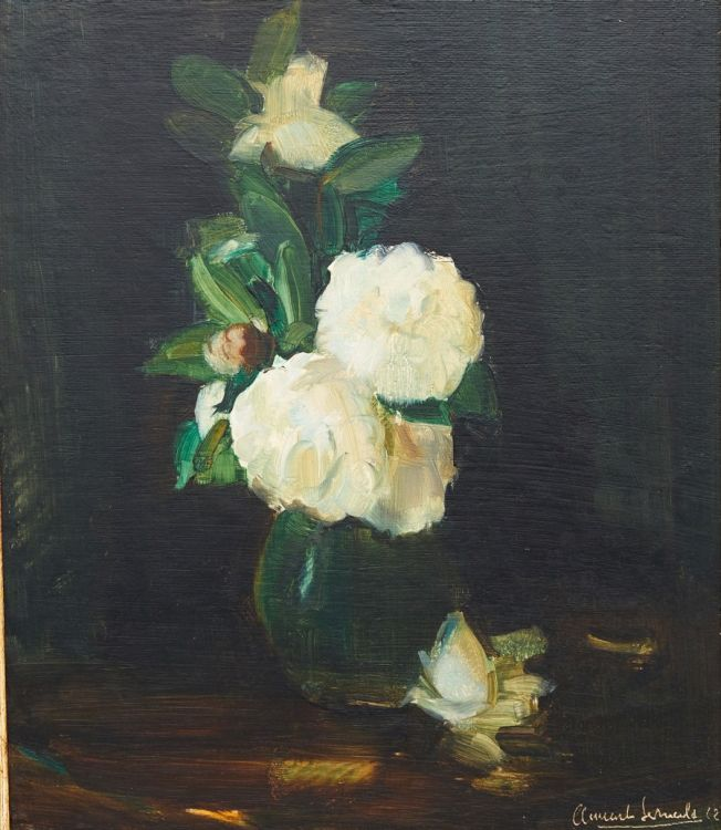 Clement Serneels; Still Life with Camelias in Vase