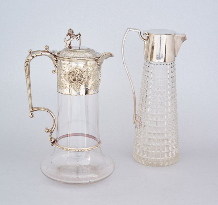 A Victorian silver-plate-mounted glass claret jug