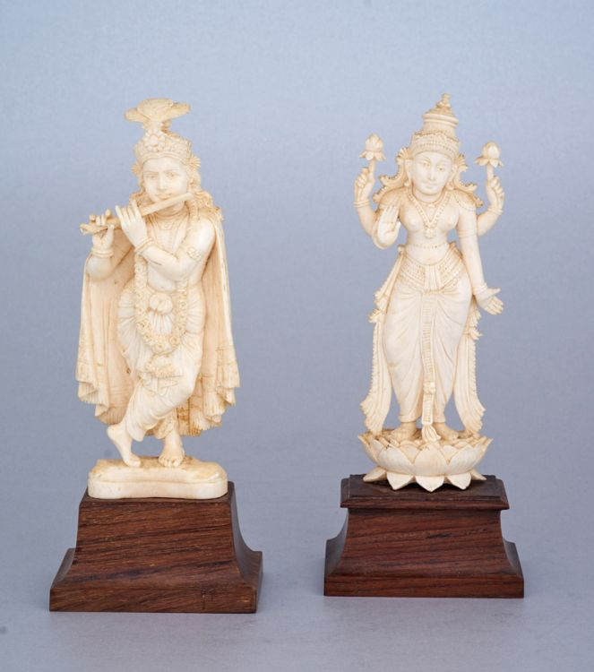 An Indian ivory figure of the goddess Lakshmi, first half 20th century