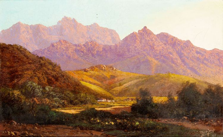 Tinus de Jongh; Homestead in a Mountainous Landscape