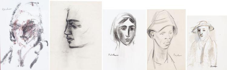 Carl Büchner; Five Monochromatic Portraits