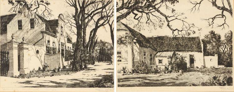 Tinus de Jongh; Stellenberg Kenilworth Cape; Old Huguenot Cottage French Hoek Cape, two