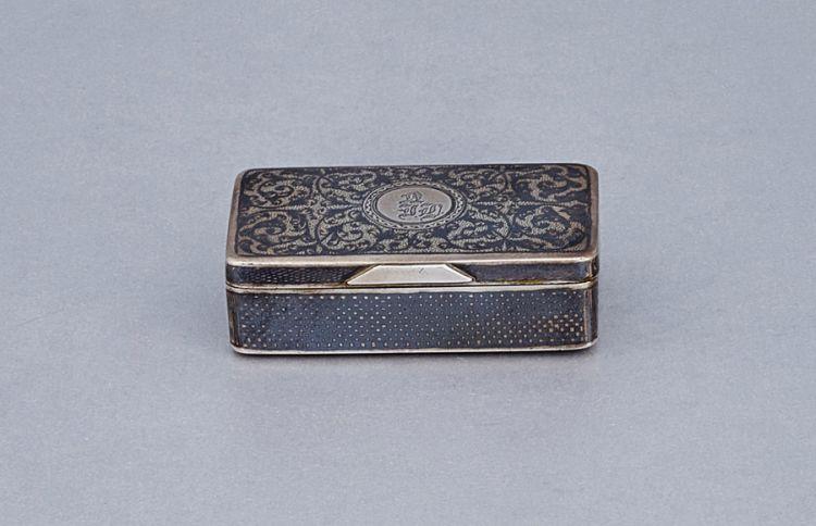 A Russian silver and niello snuff box, maker's mark AC, Moscow, 19th century