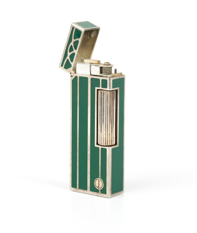 An Alfred Dunhill green enamel and metal gas lighter