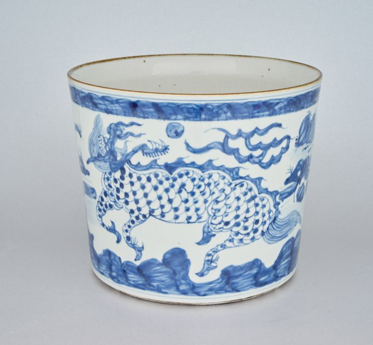A Chinese blue and white jardinière, modern