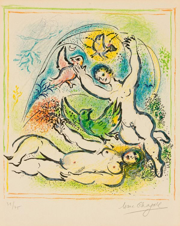 Marc Chagall; In the Land of the gods: Tomorrow My Fair One Shall Have a Dove (Mourlot 538)