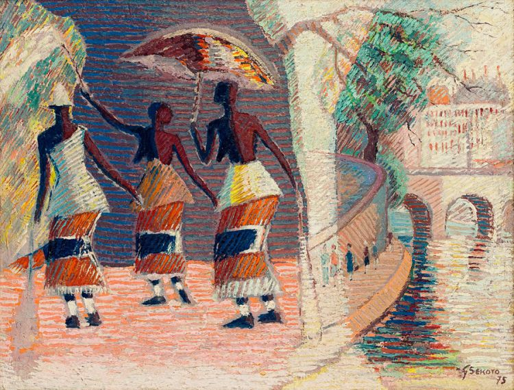 Gerard Sekoto; The Casamance Dancers and the River Seine