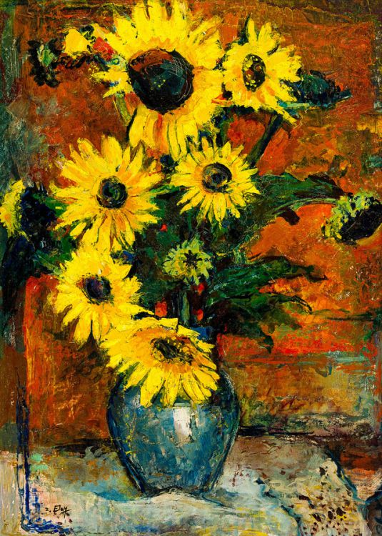 Zakkie Eloff; Still Life with Sunflowers