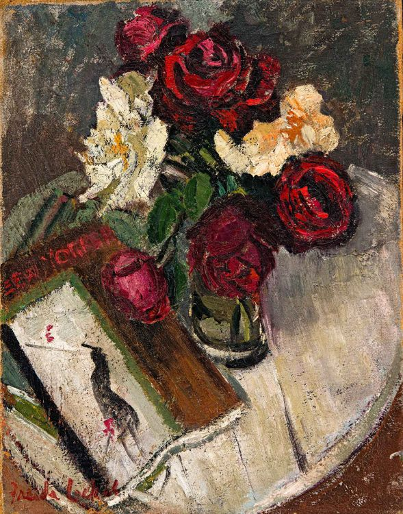 Freida Lock; Still Life with New Yorker Magazine and Roses