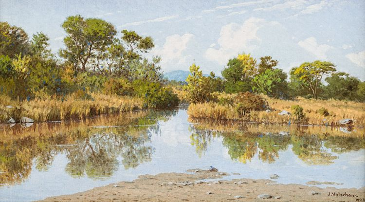 Jan Ernst Abraham Volschenk; River at Fort Victoria, S. Rhodesia: Morning