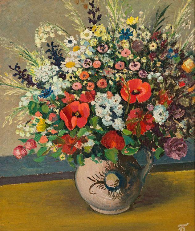 Pranas Domsaitis; Still Life with Spring Flowers