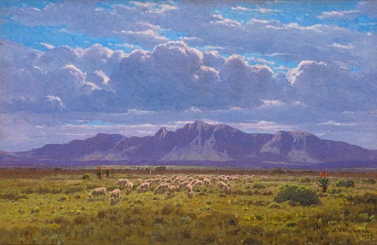 Jan Ernst Abraham Volschenk; Sheep on the Open Veld