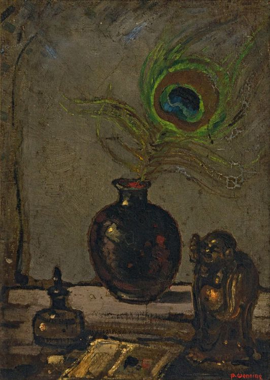 Pieter Wenning; Still Life with Peacock Feather and Buddha