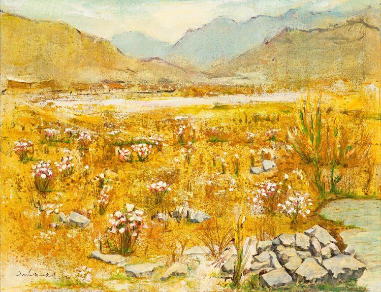 Irmin Henkel; Arid Landscape with Spring Flowers