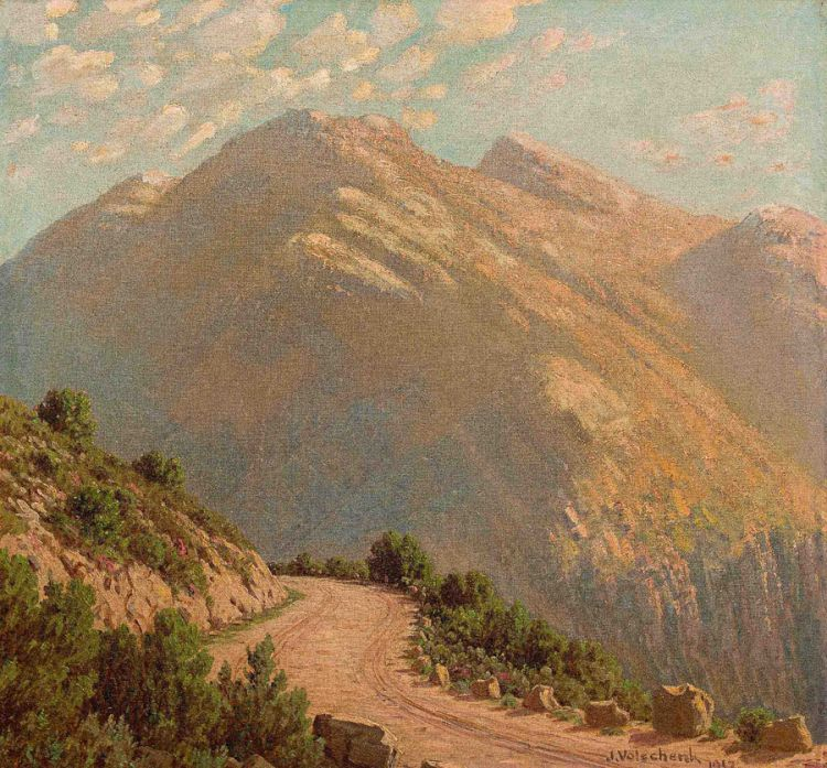Jan Ernst Abraham Volschenk; A Mountainous Pass, Riversdale