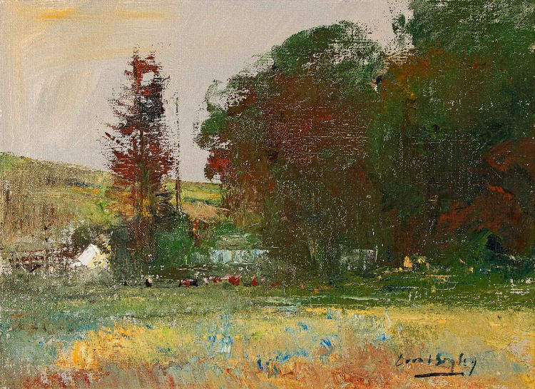 Errol Boyley; Autumnal Landscape with Grazing Cattle