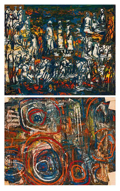 Walter Battiss; Crowd, recto; Abstract Composition, verso