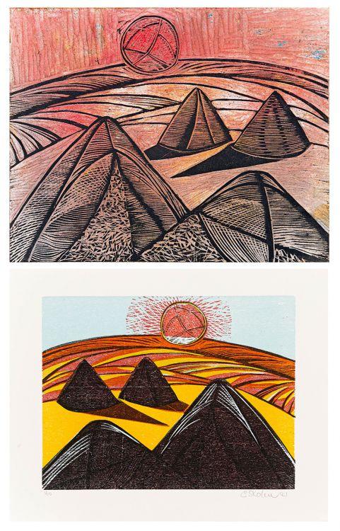 Cecil Skotnes; Haystacks, original woodblock and woodcut