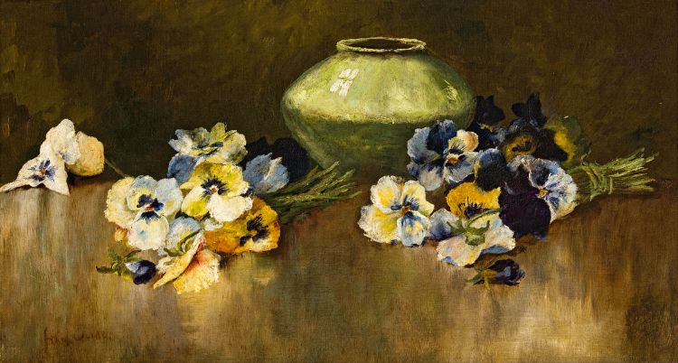 Frans Oerder; Still Life with Pansies and a Green Vase