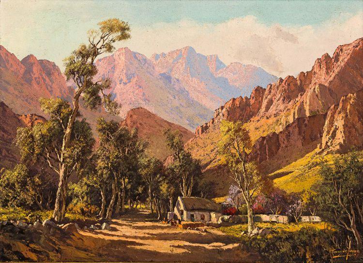 Tinus de Jongh; Mountainous Landscape with Cottage