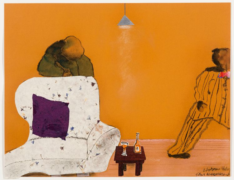 Sam Nhlengethwa and Robert Hodgins; Figures in Lounge