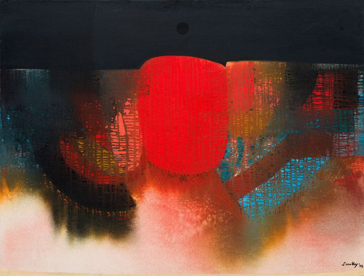 Larry Scully; Red and Black Abstract