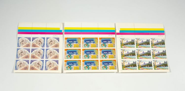 Walter Battiss; Fook Island Postage Stamps, three sheets