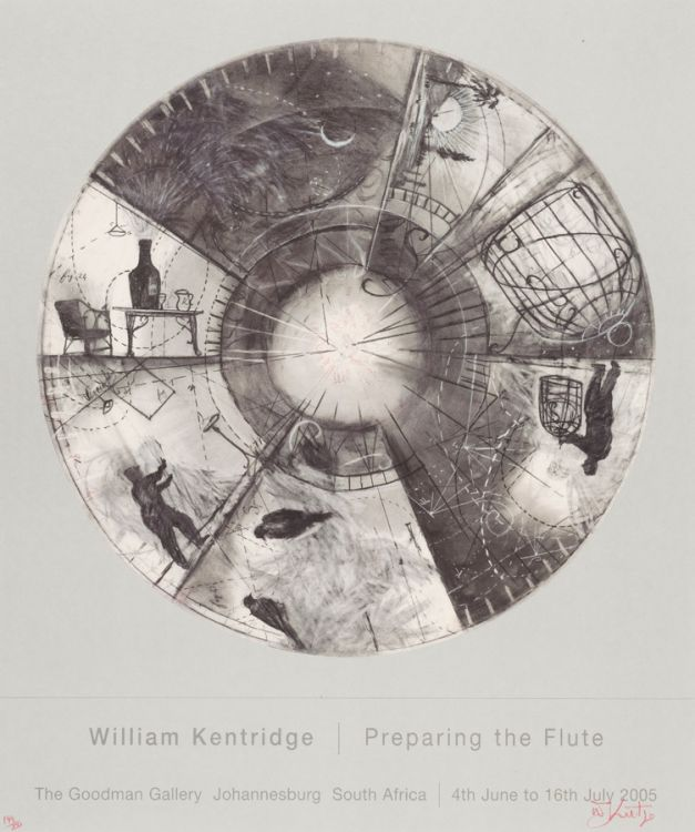 William Kentridge; Poster for the Goodman Gallery Johannesburg, Preparing the Flute, 4th June to 16th July 2005