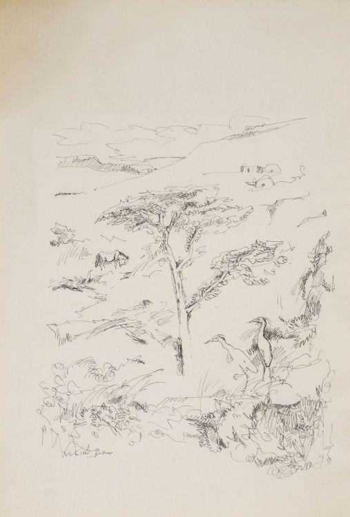 Walter Battiss; Two Birds in an Extensive Landscape