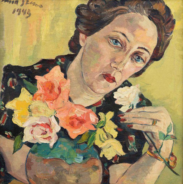 Irma Stern; Freda with Roses