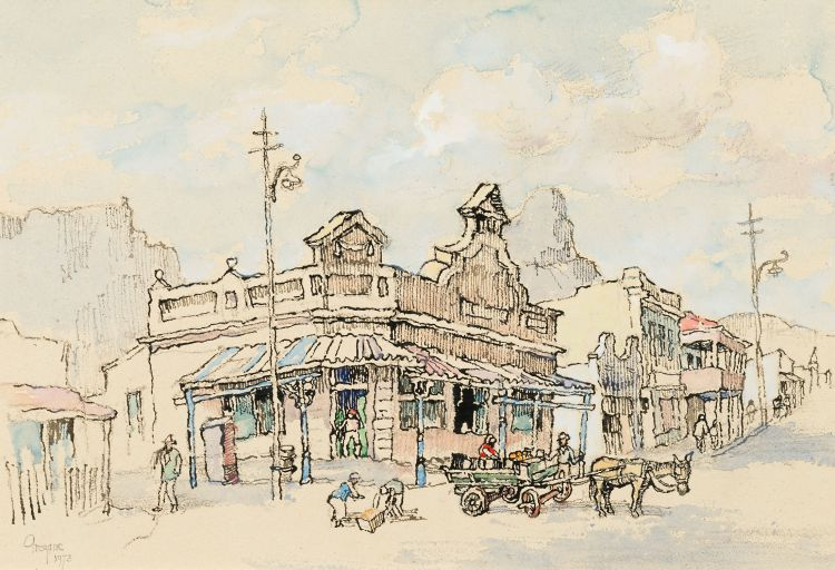 Gregoire Boonzaier; Street with Vegetable Cart, Old Cape Town