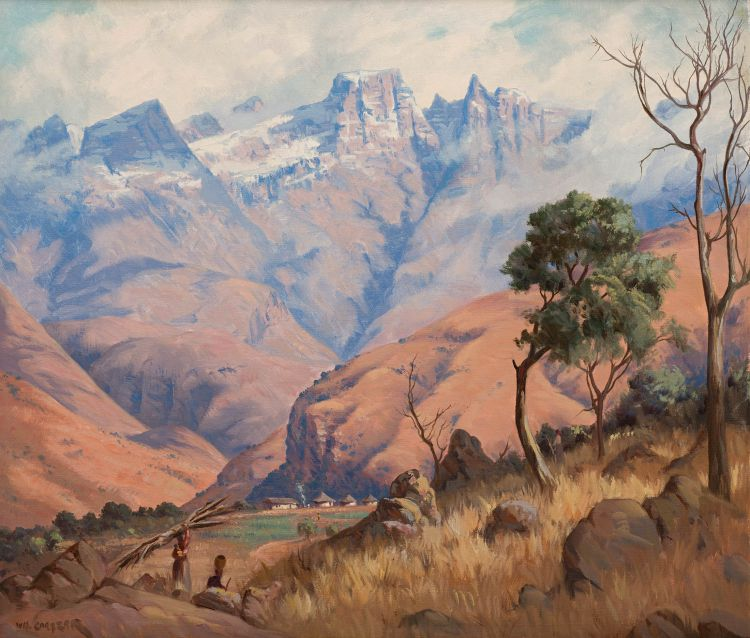 Willem Hermanus Coetzer; Landscape with Snowy Mountains in the Distance