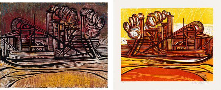 Cecil Skotnes; Mining, original woodblock and woodcut