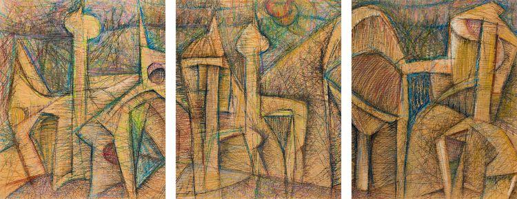Martin Qgibinsizi Tose; Man's Allegory, triptych