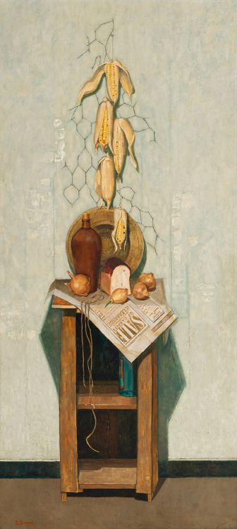 Diamond Bozas; Still Life with Mealies, Bread, Onions