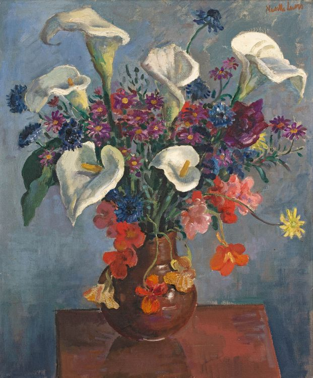 Alfred Neville Lewis; Arum Lilies, Nasturtiums and Daisies in a Vase