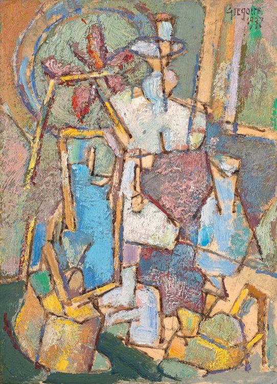 Gregoire Boonzaier; Komposisie met Lampe (Composition with Lamps)